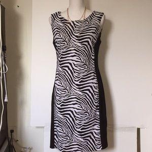 Animal Print Connected Dress Black & White Sz 10